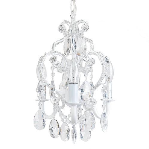 3 Bulb Mini- Chandelier, White Diamond