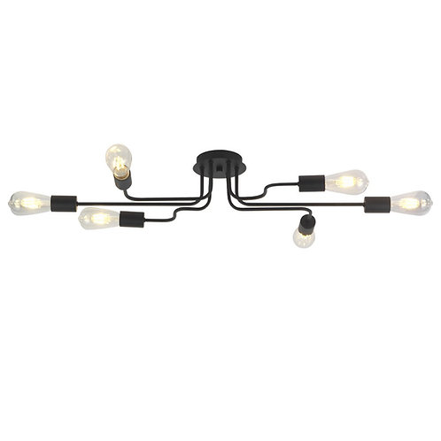 Modern Age  Lighting - 6 Light Metal Steel Flush-Mount
