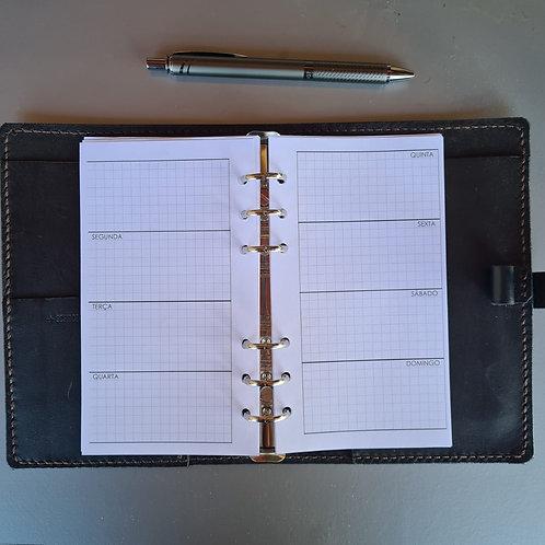 [A5] Uma semana em duas páginas horizontal quadriculado em  A4
