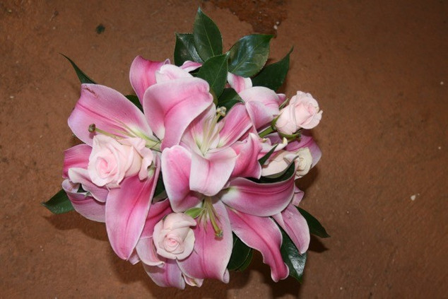 pink tiger lily and white rose posy.jpg