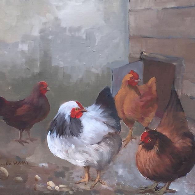 Barnyard Chickens I 16x20.jpg