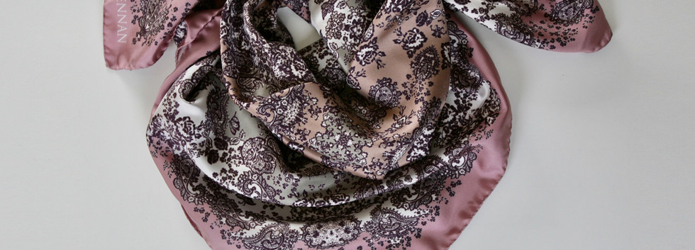 'Meabh' print – Antique rose. tea rose, silver, wine and ivory