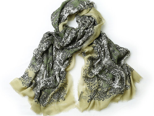Connemara Marble, Olive Green and Ivory Cashmere Blended 'Meabh' Scarf