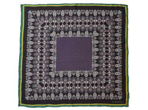 Black, Green and Gold Silk 'Honora' Bandana
