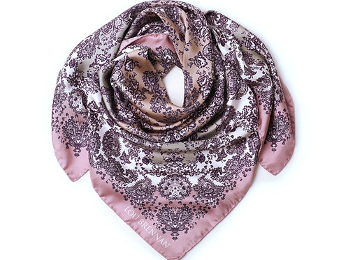 Antique and Tea Rose, Silver, Wine and Ivory Silk Twill 'Meabh' Scarf