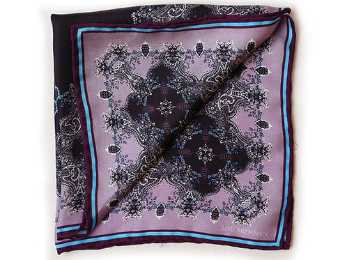 Lilac and Wine Silk 'Frances' Pocket Square