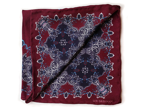 Maroon, Black, Ivory and Mineral Blue Silk 'Galway' Pocket Square