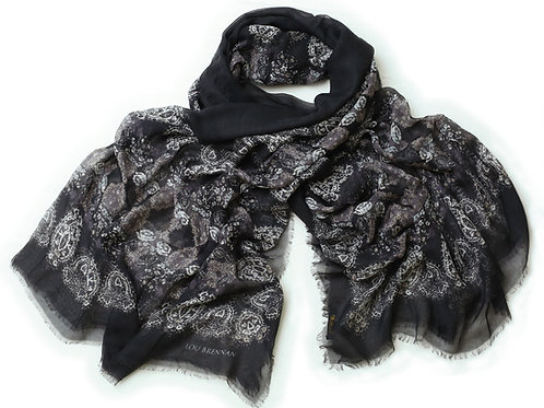 Black, Slate, Ivory and Rose Gold Cashmere Blended 'Honora' Scarf