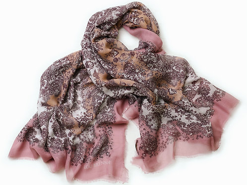 Antique Rose, Tea Rose, Wine and Ivory Cashmere Blended 'Meabh' Scarf