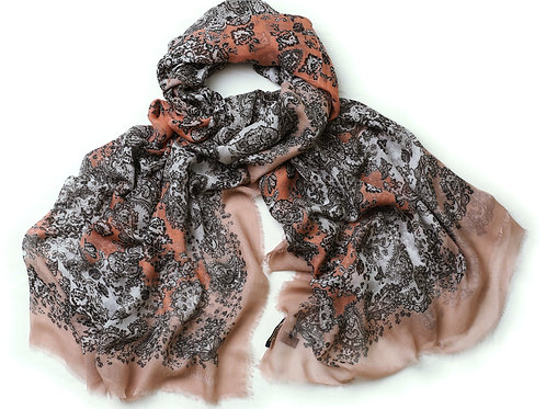Irish Coral and Ivory Cashmere Blended 'Meabh' Scarf