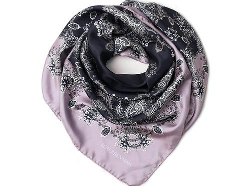 Lilac, Pewter, Ivory and Black Silk Twill 'Frances' Scarf