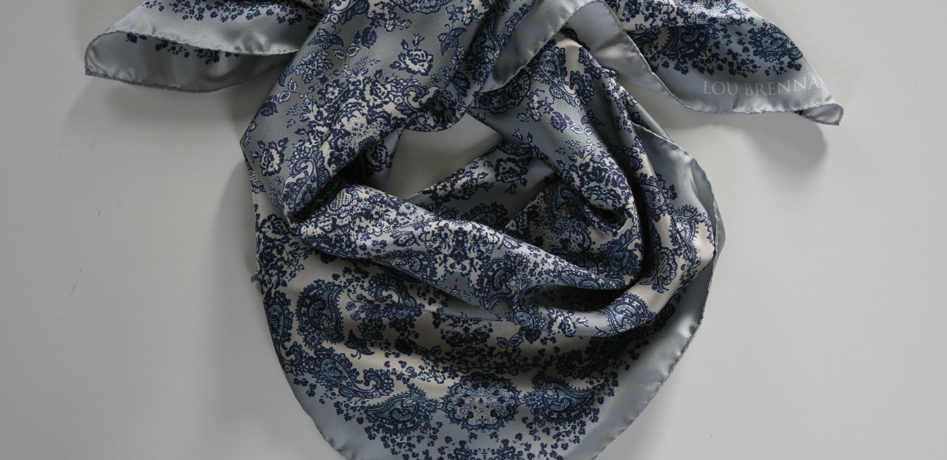 'Meabh' print – Indigo, pale denim blue, silver and ivory