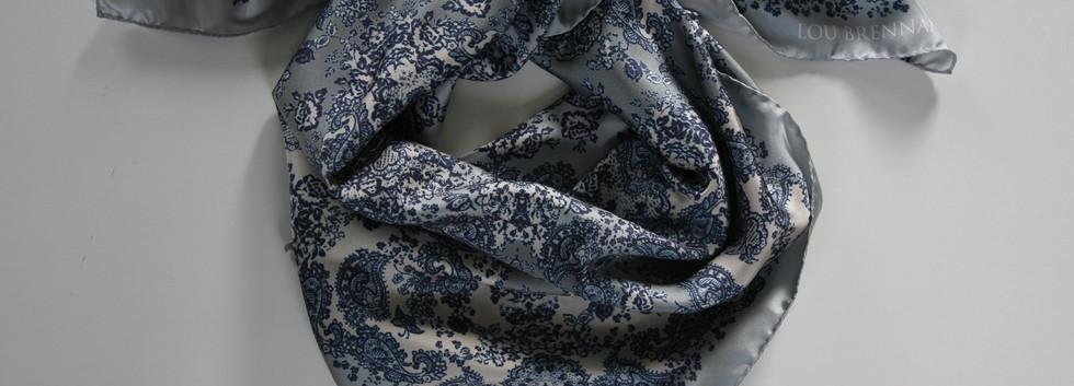 'Meabh' print – Indigo, pale denim blue, silver and ivory