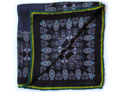 Black, Green and Gold Silk 'Honora' Pocket Square