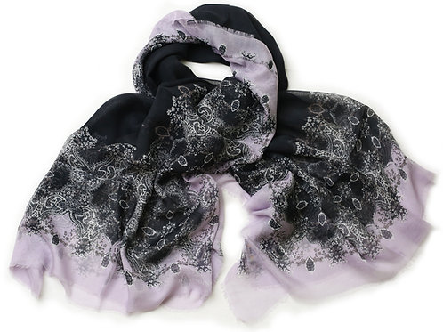 Black, Lilac, Old Gold and Ivory Cashmere Blended 'Frances' Scarf