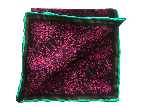 Magenta and Wine Silk 'Kathleen' Pocket Square
