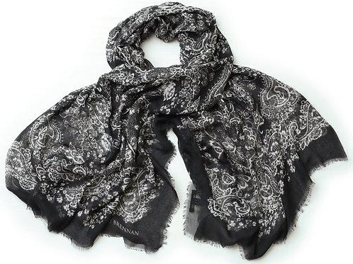 Black, Slate and Ivory Cashmere Blended 'Kathleen' Scarf
