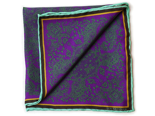 Purple and Green Silk 'Kathleen' Pocket Square