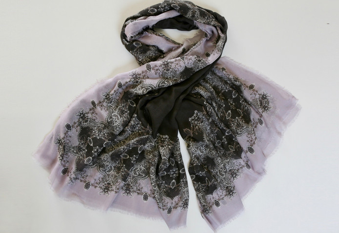 'Frances' print – Black slate, lilac rose, old gold and ivory