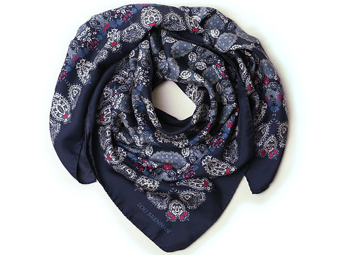 Indigo, Ivory, Old Gold and Pink Silk Twill 'Honora' Scarf