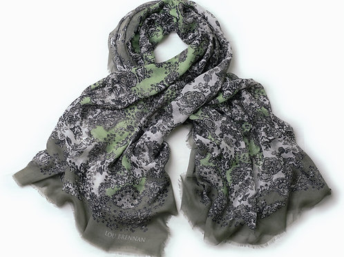 Irish Moss and Khaki Green Cashmere Blended 'Meabh' Scarf