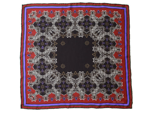 Red, Olive Green, Black and Violet Blue Silk 'Mayo' Bandana