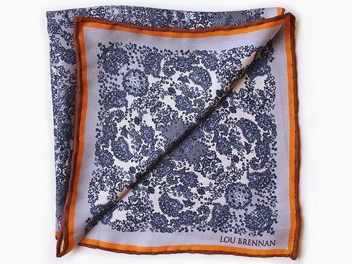 Denim Blue and Orange Silk 'Meabh' Pocket Square
