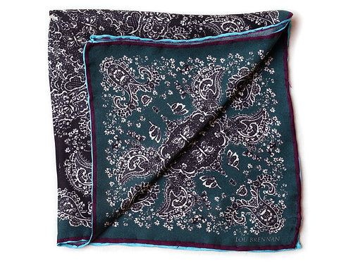 Black, Green and Turquoise Silk 'Kathleen' Pocket Square