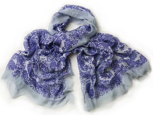 Indigo, Denim Blue and Ivory Cashmere Blended 'Meabh' Scarf