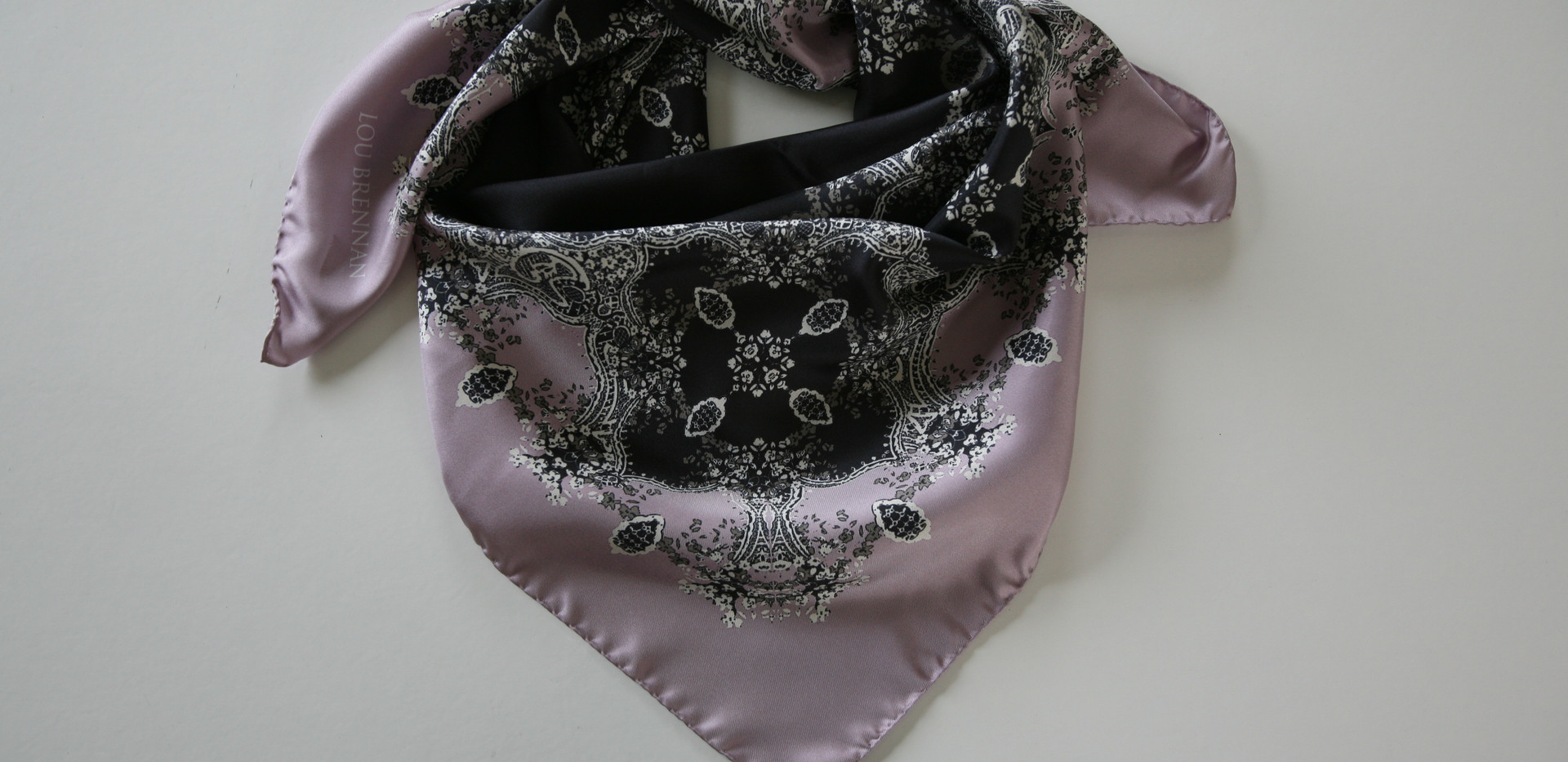 'Frances' print – Lilac rose, pewter, ivory and black