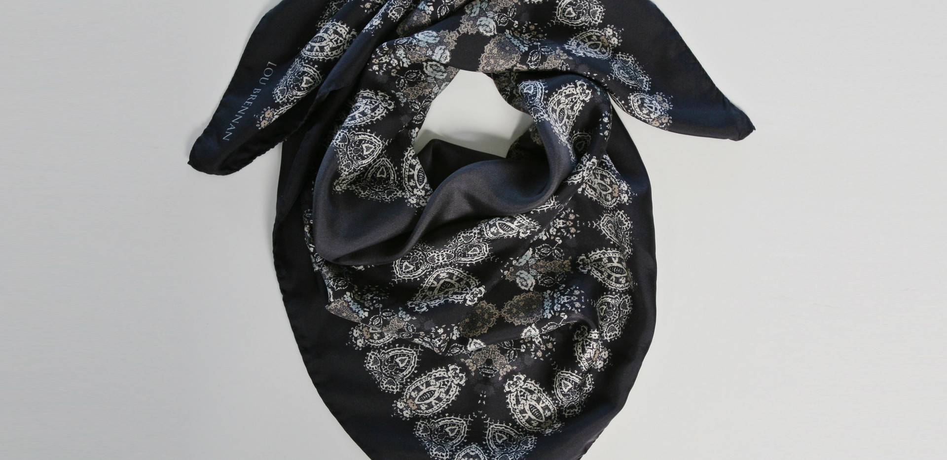 'Honora' print – Black, slate grey, ivory, old gold and highlights of blue