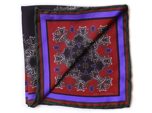 Red, Olive Green, Black and Violet Blue Silk 'Mayo' Pocket Square