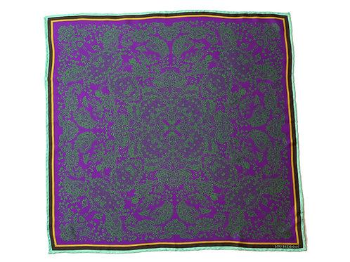 Purple and Green Silk 'Kathleen' Bandana