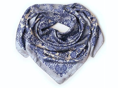 Indigo, Denim Blue, Silver and Ivory Silk Twill 'Meabh' Scarf