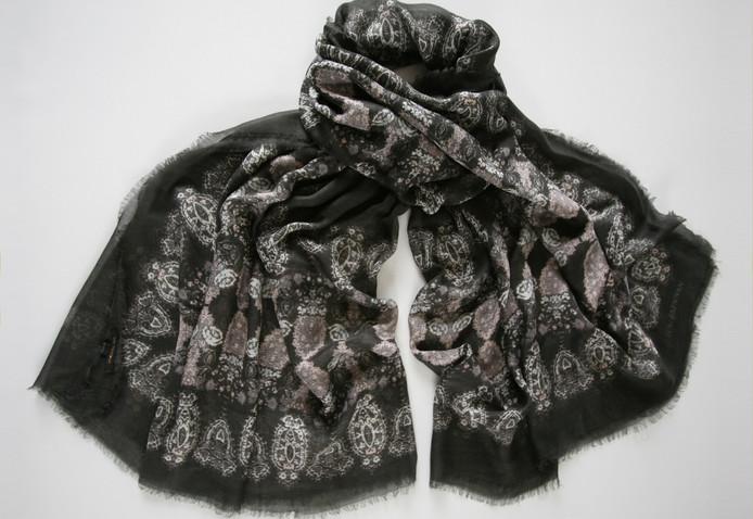 'Honora' print – Black slate grey, ivory and antique rose