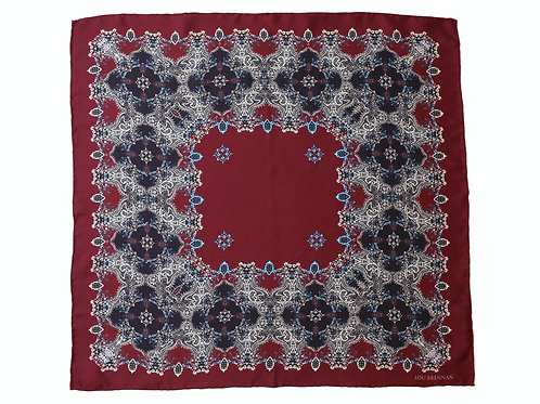 Maroon, Black, Ivory and Mineral Blue Silk 'Galway' Bandana