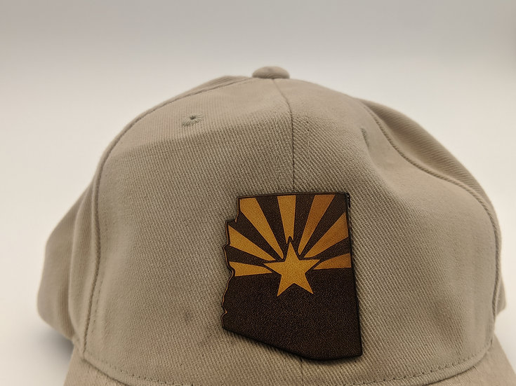 Arizona state patch on tan cotton hat
