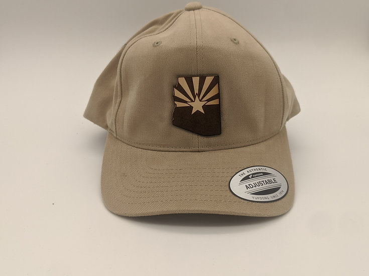 Light colored - Arizona shaped flag patch on tan hat