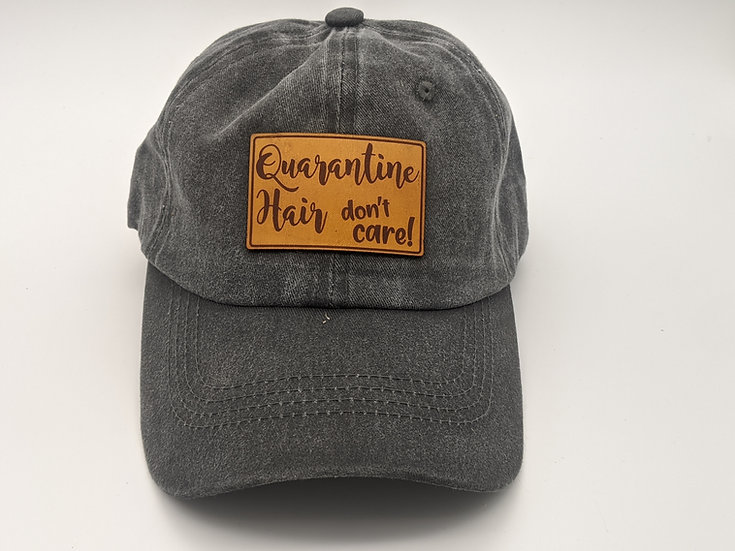 Quarantine Hair Leather patch- Charcoal Dad Hat