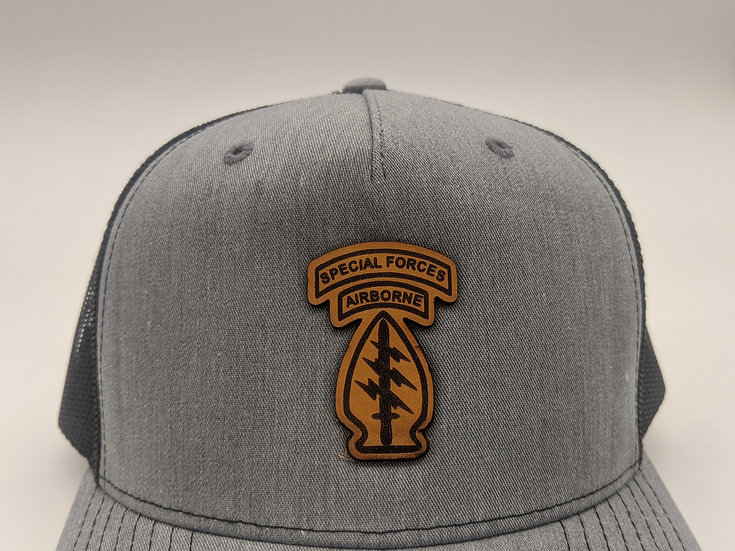 Special Forces Arrowhead patch - Grey on Black 5 panel hat