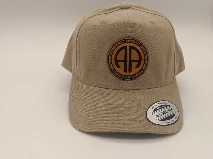 82nd Airborne Round patch on tan hat