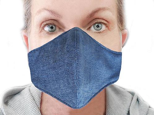 Woman's Reusable Denim Blue Mask
