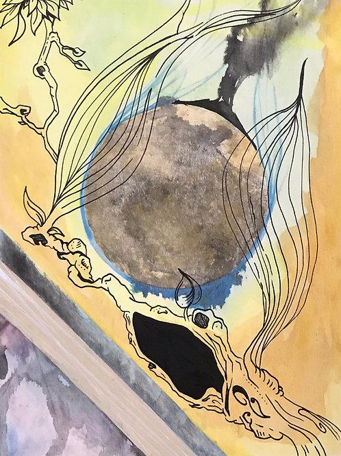 Illustrated Wood Panel