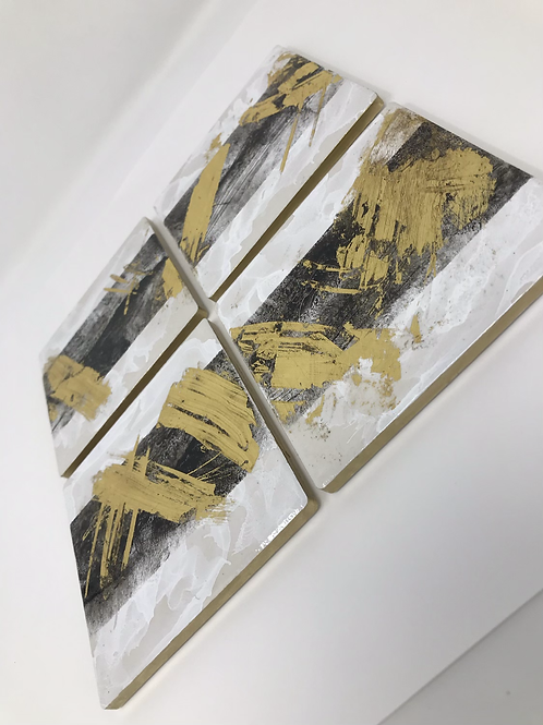 Hand Painted Coasters with Gold
