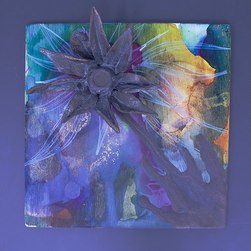 Alcohol Ink and Clay Sculpture Magnet