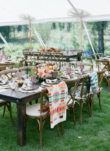 Boho Wedding Tablescape with Pendleton Blanket