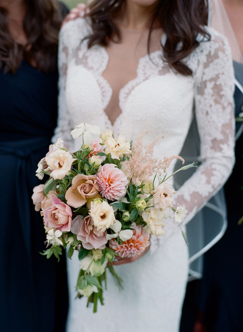 Bridal Bouquet with Pink Dahlias and Pink Roses