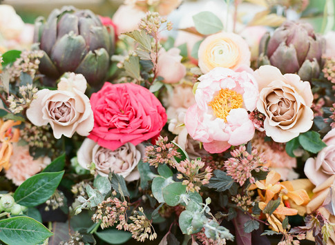 Flower Arrangement with Bright Pink Roses, Light Pink Peonies, Dusty Pink Roses, Purple Artichokes