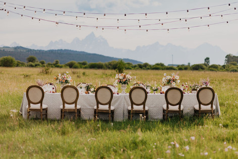 Long Table Set in a Field with Six Oval Upholstered Wooden Chairs and the Teton Mountains in the Background