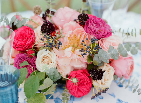 Flower Arrangement with Pink Peonies, White Roses, Bright Pink Roses, Burgundy Scabiosa and Eucalyptus
